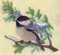 Embroidered Chickadee on Branch Berries Dish Towel